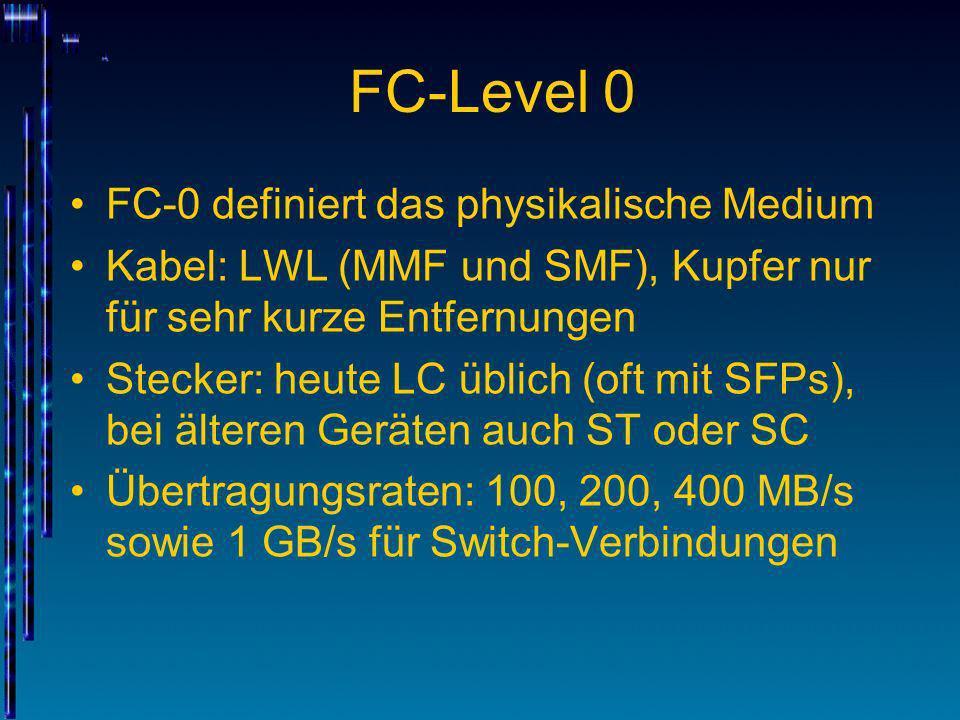 FC-Level 0 FC-0 definiert das physikalische Medium Kabel: LWL (MMF und SMF), Kupfer nur für sehr kurze Entfernungen Stecker: heute LC üblich (oft mit