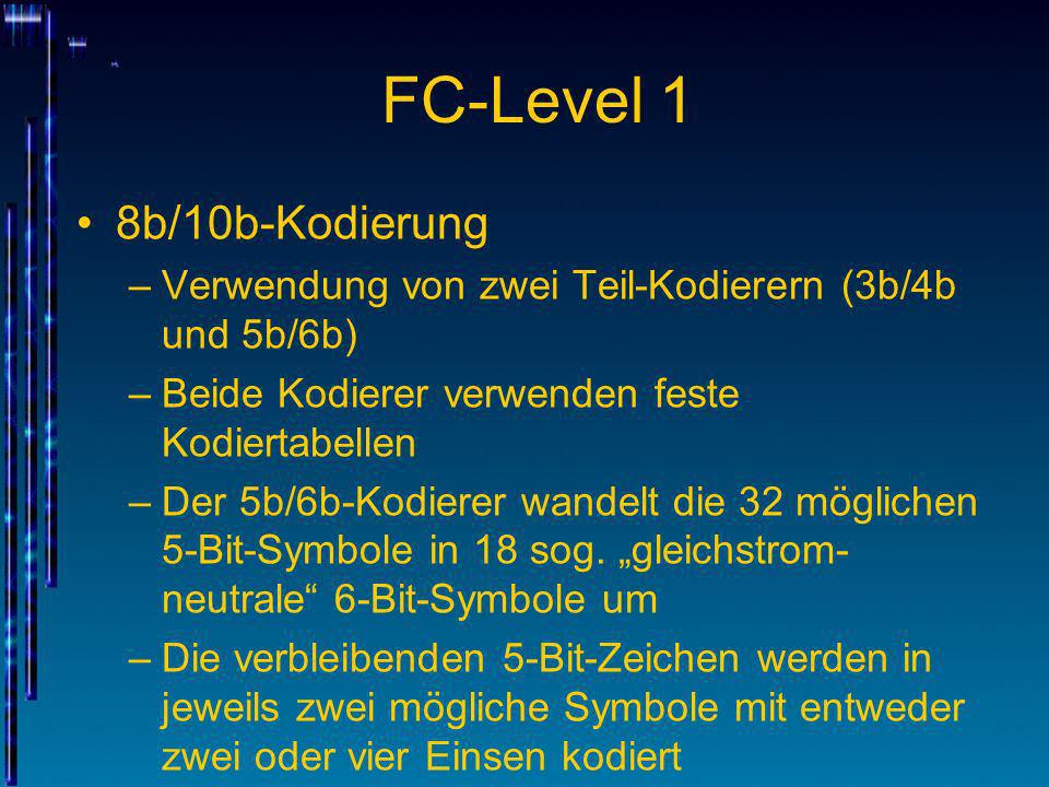 FC-Level 1 8b/10b-Kodierung –Verwendung von zwei Teil-Kodierern (3b/4b und 5b/6b) –Beide Kodierer verwenden feste Kodiertabellen –Der 5b/6b-Kodierer w
