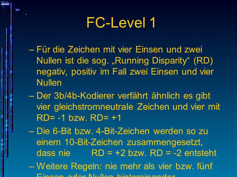 FC-Level 1 –Für die Zeichen mit vier Einsen und zwei Nullen ist die sog. Running Disparity (RD) negativ, positiv im Fall zwei Einsen und vier Nullen –