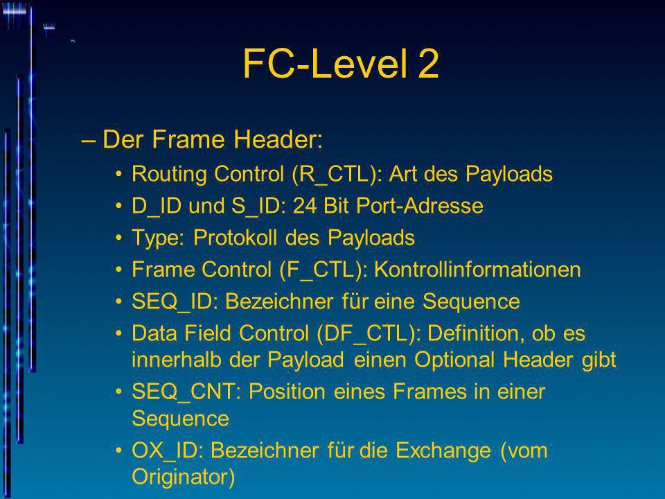 FC-Level 2 –Der Frame Header: Routing Control (R_CTL): Art des Payloads D_ID und S_ID: 24 Bit Port-Adresse Type: Protokoll des Payloads Frame Control