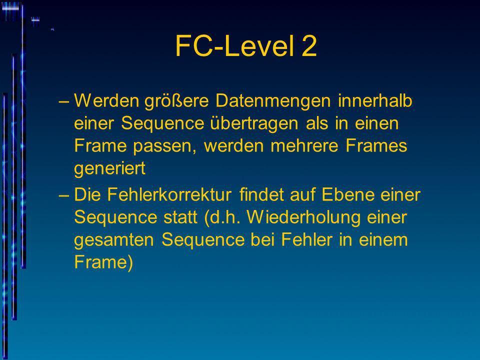 FC-Level 2 –Werden größere Datenmengen innerhalb einer Sequence übertragen als in einen Frame passen, werden mehrere Frames generiert –Die Fehlerkorre