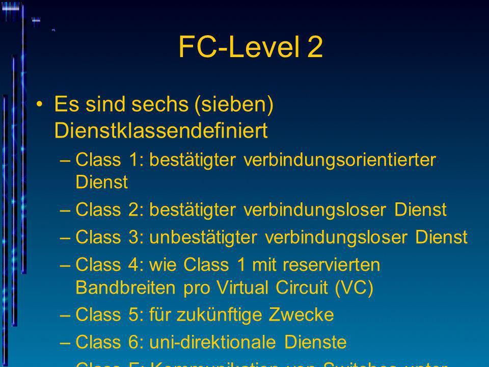 FC-Level 2 Es sind sechs (sieben) Dienstklassendefiniert –Class 1: bestätigter verbindungsorientierter Dienst –Class 2: bestätigter verbindungsloser D