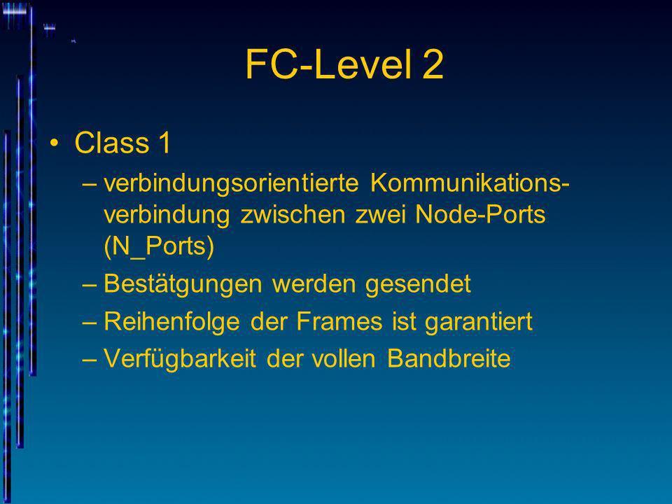 FC-Level 2 Class 1 –verbindungsorientierte Kommunikations- verbindung zwischen zwei Node-Ports (N_Ports) –Bestätgungen werden gesendet –Reihenfolge de