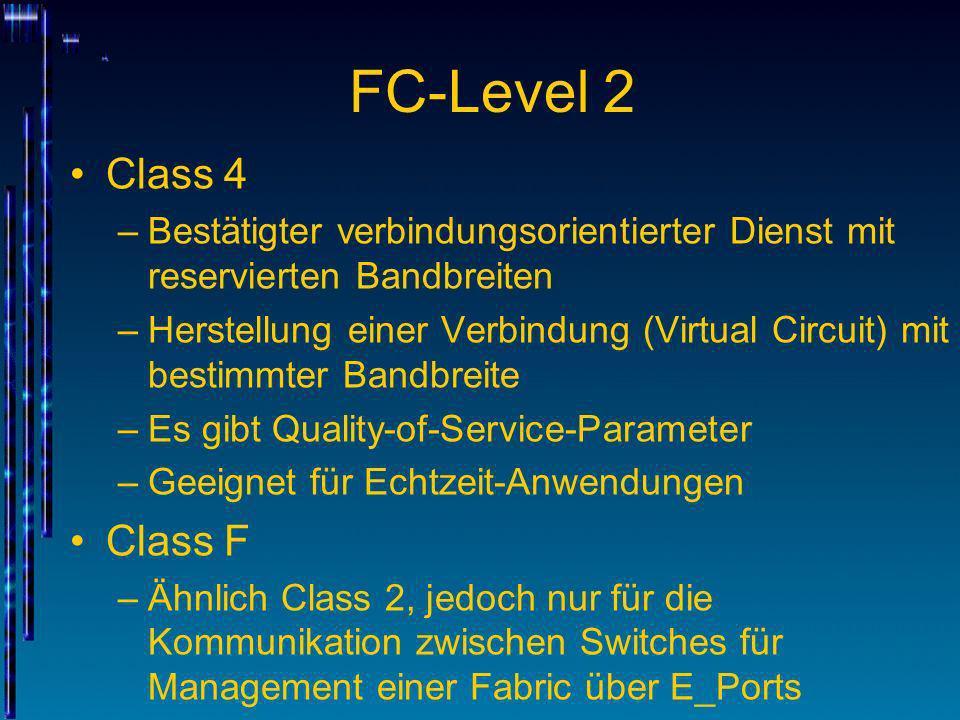 FC-Level 2 Class 4 –Bestätigter verbindungsorientierter Dienst mit reservierten Bandbreiten –Herstellung einer Verbindung (Virtual Circuit) mit bestim