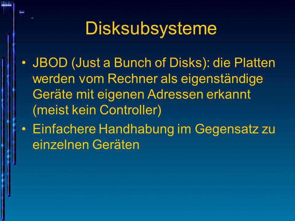 Disksubsysteme Disksubsysteme mit RAID-Controller fassen die physikalischen Festplatten zu einer virtuellen Festplatte zusammen RAID: Redundant Array of Independent Disks Nur die virtuelle Festplatte ist für den/die Server sichtbar Technische Vorteile: keine Beschränkungen bzgl.