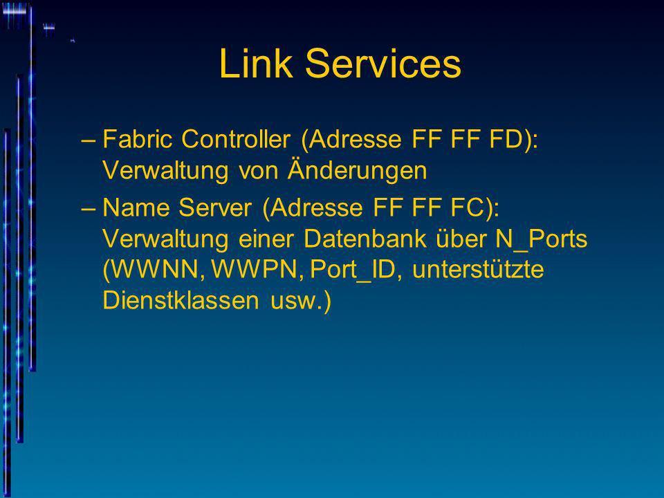 Link Services –Fabric Controller (Adresse FF FF FD): Verwaltung von Änderungen –Name Server (Adresse FF FF FC): Verwaltung einer Datenbank über N_Port