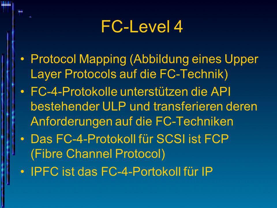 FC-Level 4 Protocol Mapping (Abbildung eines Upper Layer Protocols auf die FC-Technik) FC-4-Protokolle unterstützen die API bestehender ULP und transf