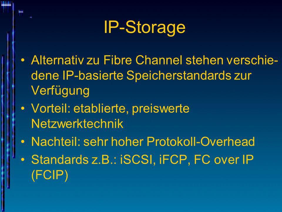 IP-Storage Alternativ zu Fibre Channel stehen verschie- dene IP-basierte Speicherstandards zur Verfügung Vorteil: etablierte, preiswerte Netzwerktechn