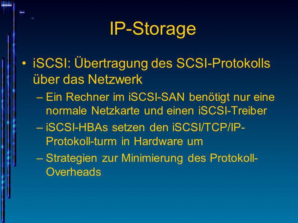 IP-Storage iSCSI: Übertragung des SCSI-Protokolls über das Netzwerk –Ein Rechner im iSCSI-SAN benötigt nur eine normale Netzkarte und einen iSCSI-Trei