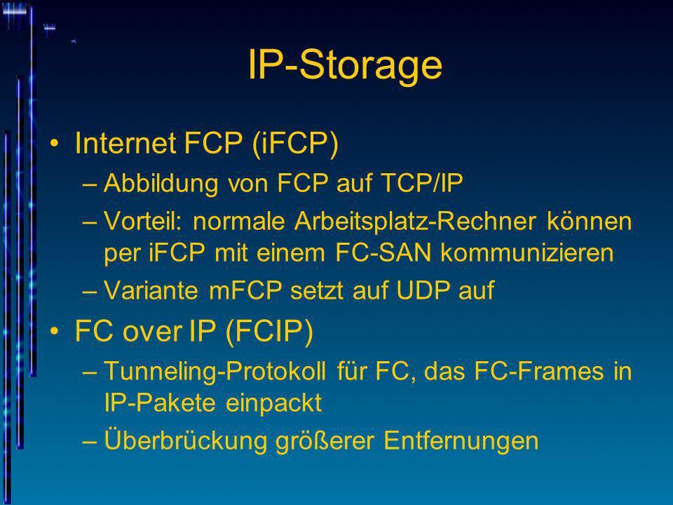 IP-Storage Internet FCP (iFCP) –Abbildung von FCP auf TCP/IP –Vorteil: normale Arbeitsplatz-Rechner können per iFCP mit einem FC-SAN kommunizieren –Va