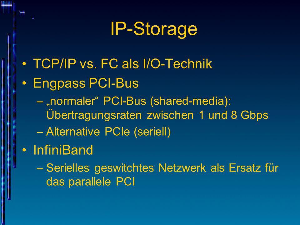 IP-Storage TCP/IP vs. FC als I/O-Technik Engpass PCI-Bus –normaler PCI-Bus (shared-media): Übertragungsraten zwischen 1 und 8 Gbps –Alternative PCIe (