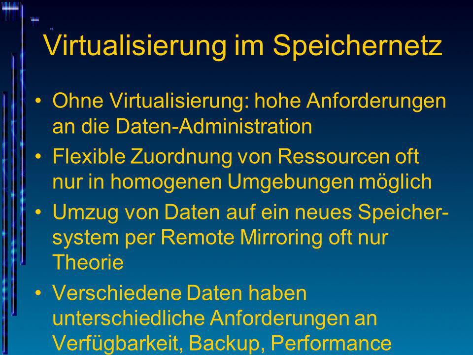 Virtualisierung im Speichernetz Ohne Virtualisierung: hohe Anforderungen an die Daten-Administration Flexible Zuordnung von Ressourcen oft nur in homo