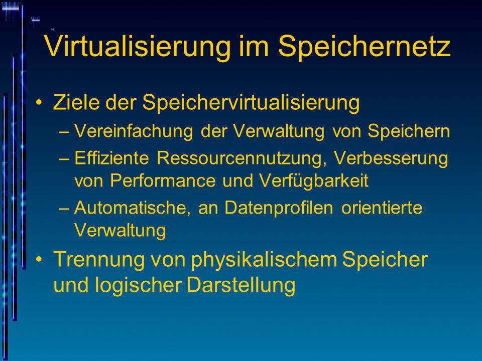 Virtualisierung im Speichernetz Ziele der Speichervirtualisierung –Vereinfachung der Verwaltung von Speichern –Effiziente Ressourcennutzung, Verbesser