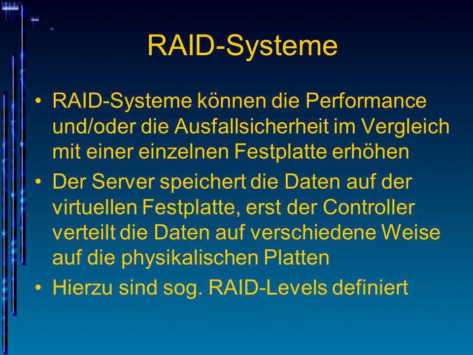 RAID-Systeme Ausfallsicherheit durch Redundanz Rekonstruktion der verlorenen Daten aus den verbliebenen Mit Hot Spare Disks kann dies ohne Unter- brechung im laufenden Betrieb geschehen