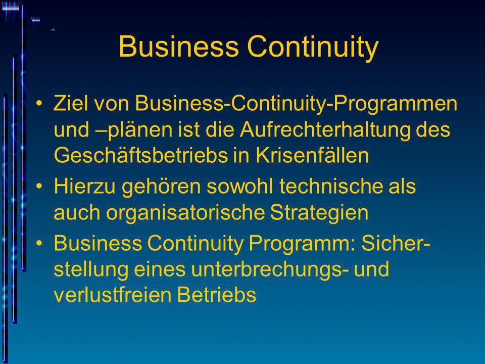 Business Continuity Ziel von Business-Continuity-Programmen und –plänen ist die Aufrechterhaltung des Geschäftsbetriebs in Krisenfällen Hierzu gehören