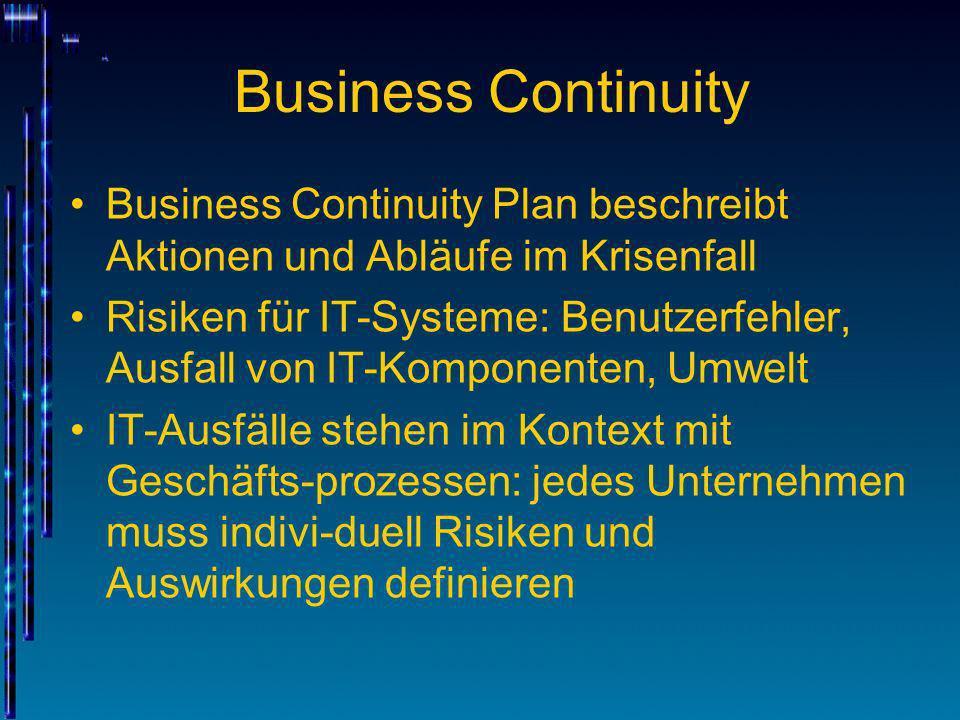 Business Continuity Business Continuity Plan beschreibt Aktionen und Abläufe im Krisenfall Risiken für IT-Systeme: Benutzerfehler, Ausfall von IT-Komp