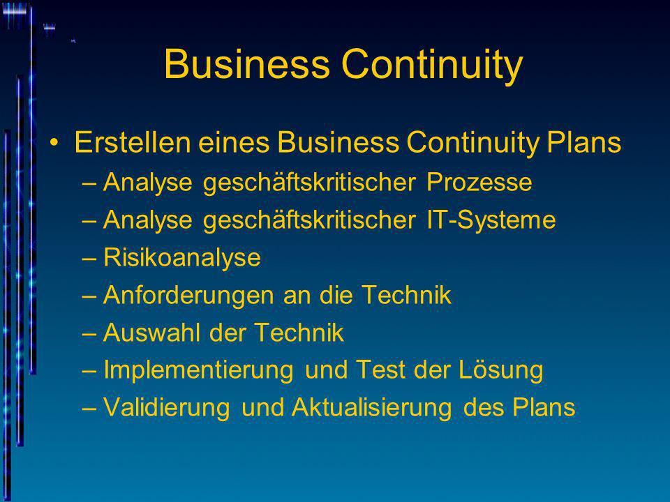 Business Continuity Erstellen eines Business Continuity Plans –Analyse geschäftskritischer Prozesse –Analyse geschäftskritischer IT-Systeme –Risikoana