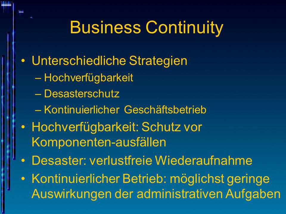 Business Continuity Unterschiedliche Strategien –Hochverfügbarkeit –Desasterschutz –Kontinuierlicher Geschäftsbetrieb Hochverfügbarkeit: Schutz vor Ko