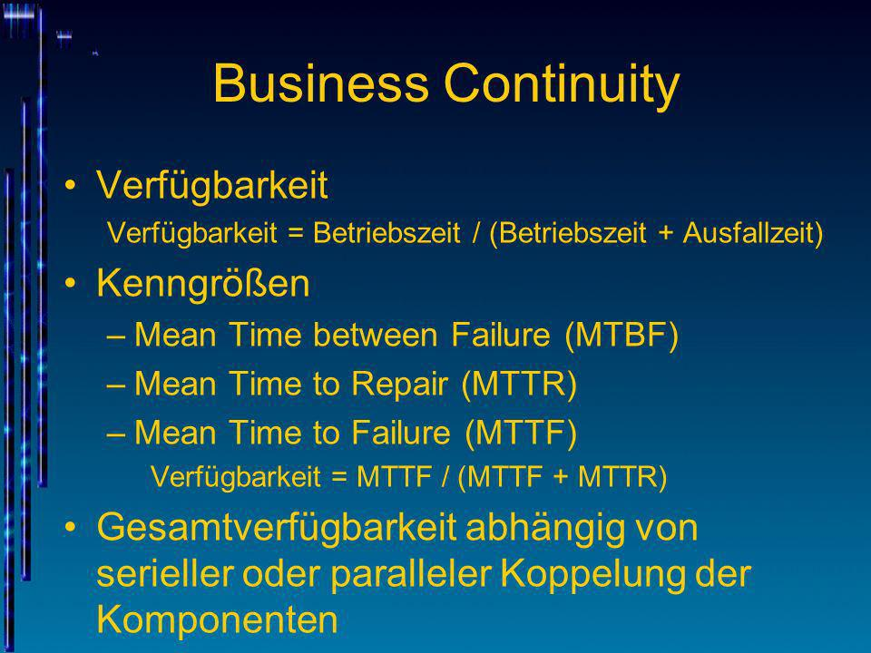 Business Continuity Verfügbarkeit Verfügbarkeit = Betriebszeit / (Betriebszeit + Ausfallzeit) Kenngrößen –Mean Time between Failure (MTBF) –Mean Time