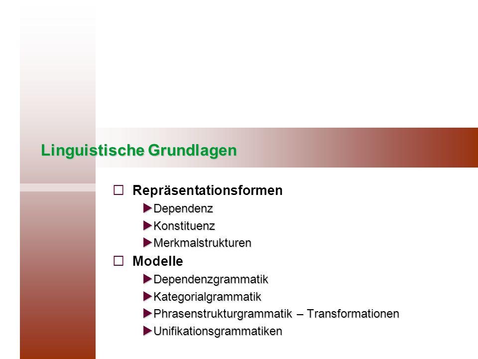 Linguistische Grundlagen Repräsentationsformen Dependenz Dependenz Konstituenz Konstituenz Merkmalstrukturen Merkmalstrukturen Modelle Dependenzgramma