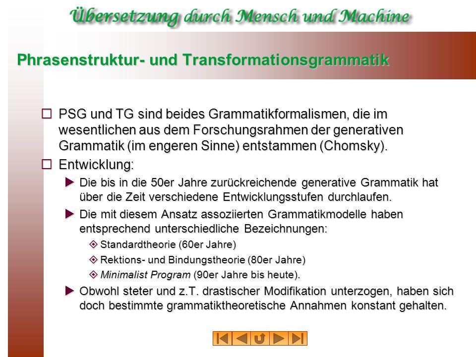 Phrasenstruktur- und Transformationsgrammatik PSG und TG sind beides Grammatikformalismen, die im wesentlichen aus dem Forschungsrahmen der generative