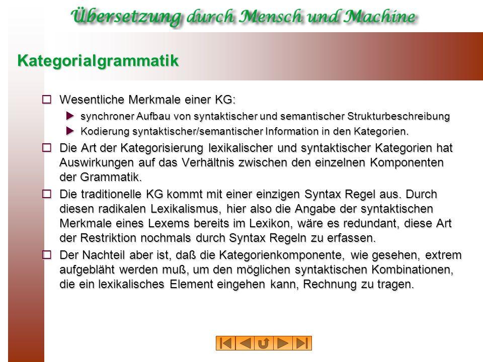 Kategorialgrammatik Wesentliche Merkmale einer KG: Wesentliche Merkmale einer KG: synchroner Aufbau von syntaktischer und semantischer Strukturbeschre