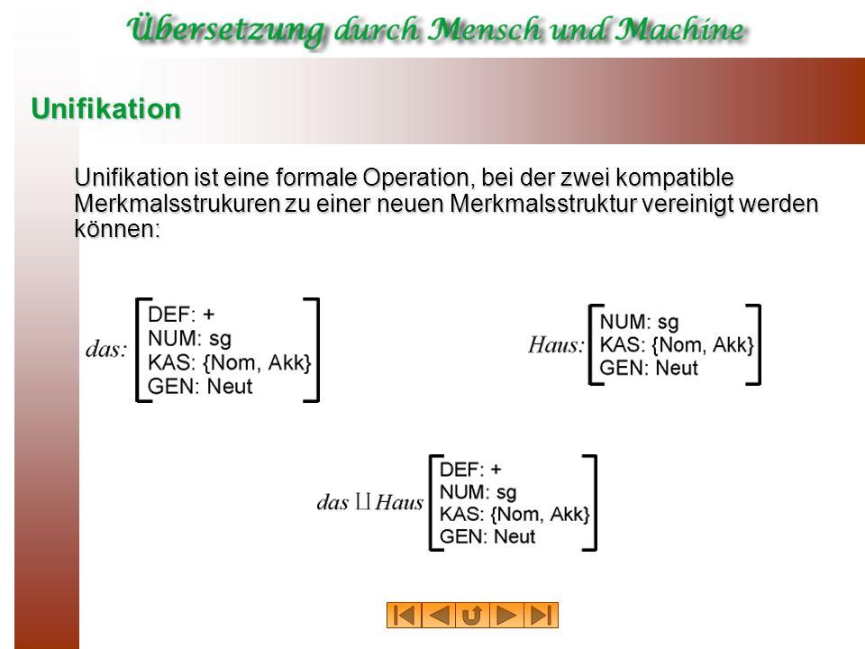 Unifikation Unifikation ist eine formale Operation, bei der zwei kompatible Merkmalsstrukuren zu einer neuen Merkmalsstruktur vereinigt werden können: