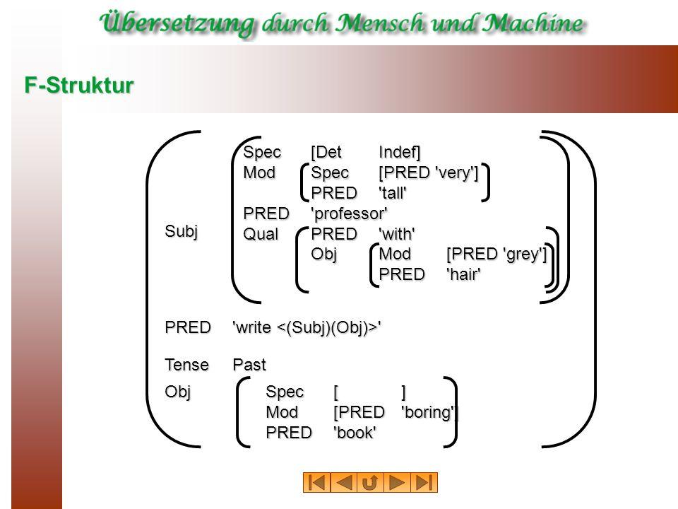 F-Struktur Spec[DetIndef] ModSpec[PRED 'very'] PRED'tall' PRED'professor' QualPRED'with' ObjMod[PRED 'grey'] PRED'hair' Subj PRED'write ' TensePast Ob