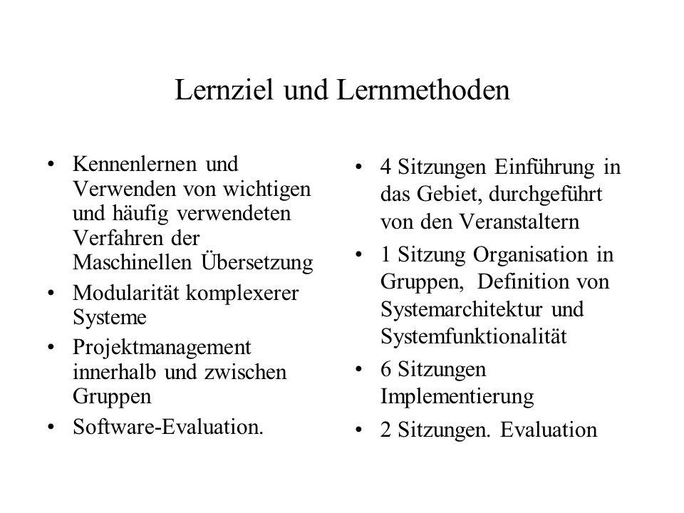 Lernziel und Lernmethoden Kennenlernen und Verwenden von wichtigen und häufig verwendeten Verfahren der Maschinellen Übersetzung Modularität komplexer