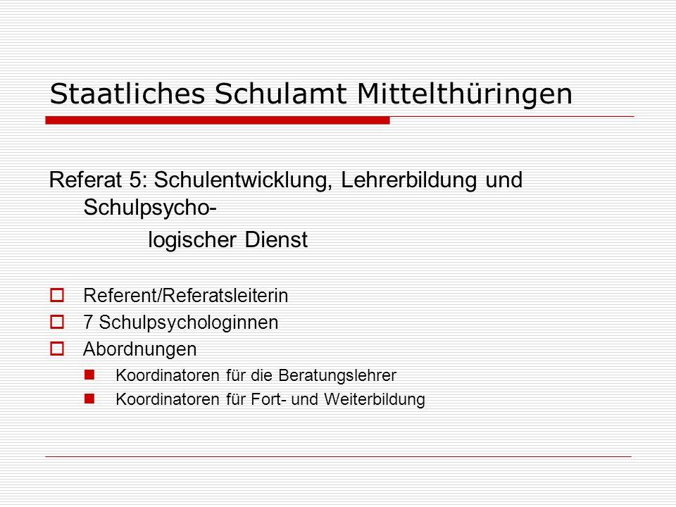 Staatliches Schulamt Mittelthüringen Statistik Schulart (nur staatliche Schulen) Anzahl der SchulenSchülerLehrer Grundschulen7112.503 891 Förderzentren14 1.295 411 Regelschulen37 8.534 872 Gymnasien, Gesamtschulen1810.7641.004 Berufsbildende Schulen1110.158 793 Thüringer Gemeinschaftsschule 1 421 18 Kolleg 1 115 13 Summe15343.7904.002