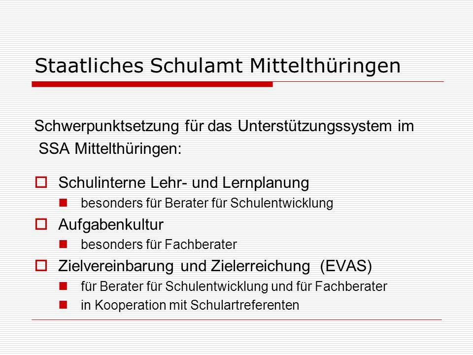 Staatliches Schulamt Mittelthüringen Schwerpunktsetzung für das Unterstützungssystem im SSA Mittelthüringen: Schulinterne Lehr- und Lernplanung besond