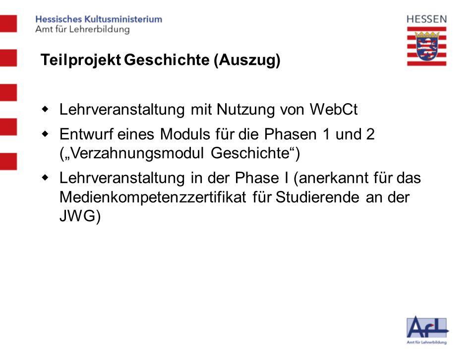 Teilprojekt Geschichte (Auszug) Lehrveranstaltung mit Nutzung von WebCt Entwurf eines Moduls für die Phasen 1 und 2 (Verzahnungsmodul Geschichte) Lehr