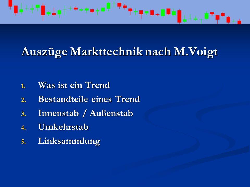 Auszüge Markttechnik nach M.Voigt 1. Was ist ein Trend 2. Bestandteile eines Trend 3. Innenstab / Außenstab 4. Umkehrstab 5. Linksammlung