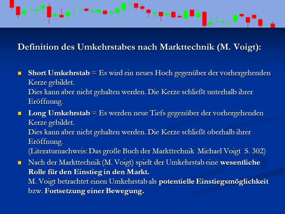 Definition des Umkehrstabes nach Markttechnik (M. Voigt): Short Umkehrstab = Es wird ein neues Hoch gegenüber der vorhergehenden Kerze gebildet. Dies