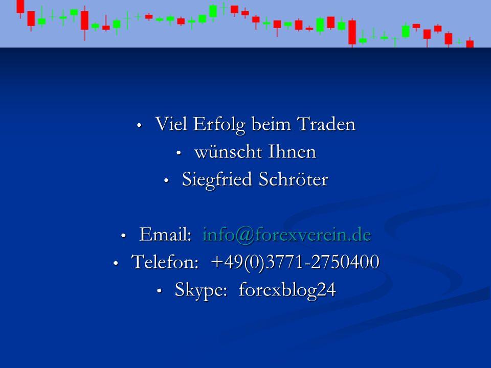 Viel Erfolg beim Traden Viel Erfolg beim Traden wünscht Ihnen wünscht Ihnen Siegfried Schröter Siegfried Schröter Email: info@forexverein.de Email: in