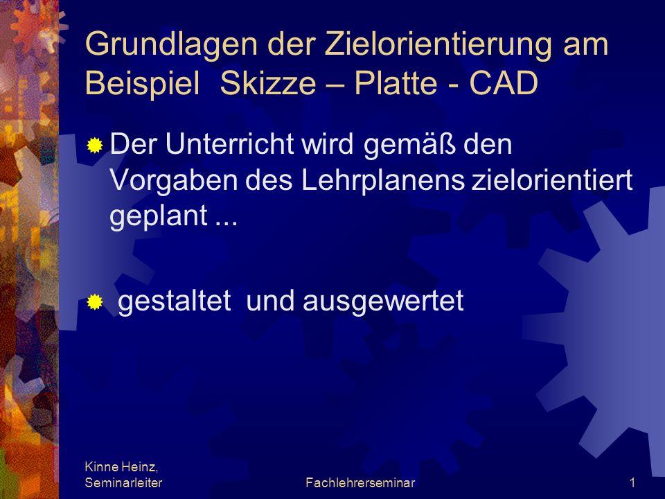 Kinne Heinz, SeminarleiterFachlehrerseminar1 Grundlagen der Zielorientierung am Beispiel Skizze – Platte - CAD Der Unterricht wird gemäß den Vorgaben