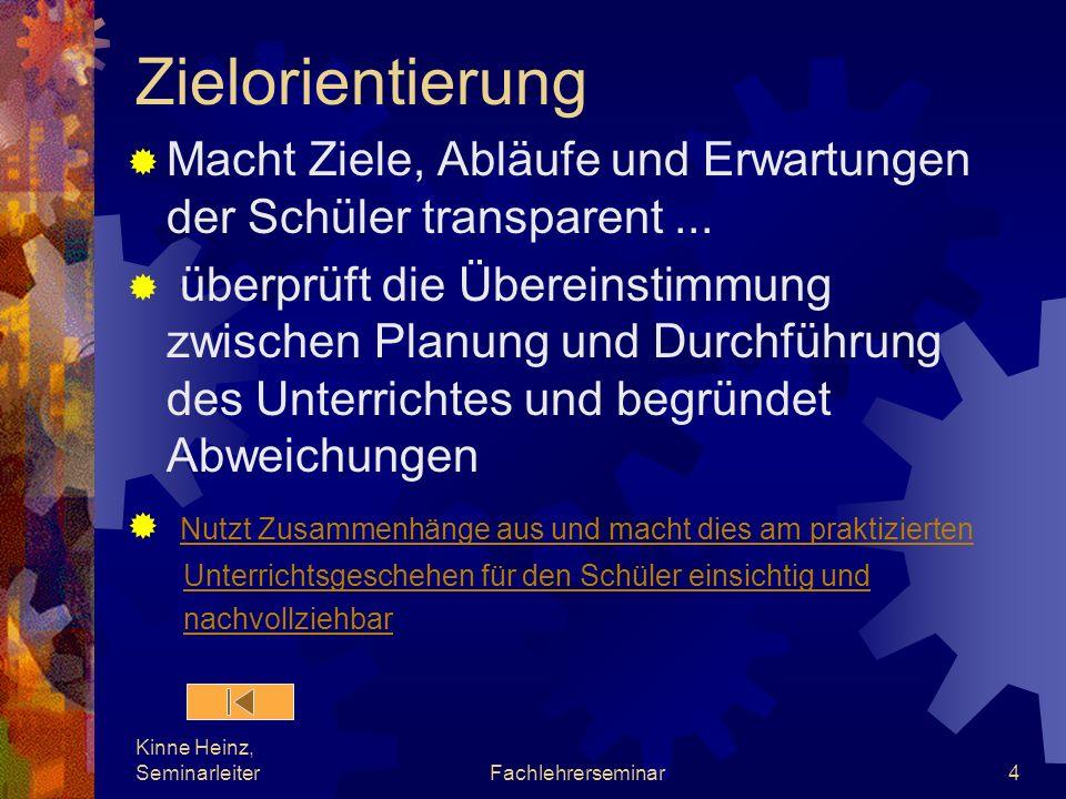 Kinne Heinz, SeminarleiterFachlehrerseminar4 Zielorientierung Macht Ziele, Abläufe und Erwartungen der Schüler transparent... überprüft die Übereinsti