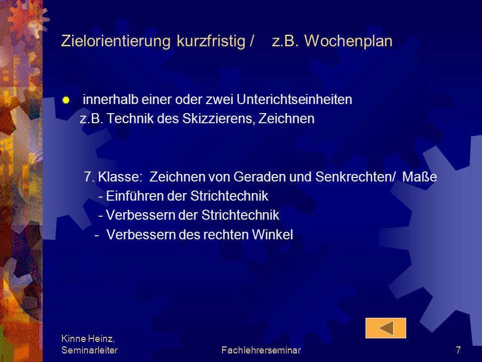 Kinne Heinz, SeminarleiterFachlehrerseminar7 Zielorientierung kurzfristig / z.B. Wochenplan innerhalb einer oder zwei Unterichtseinheiten z.B. Technik