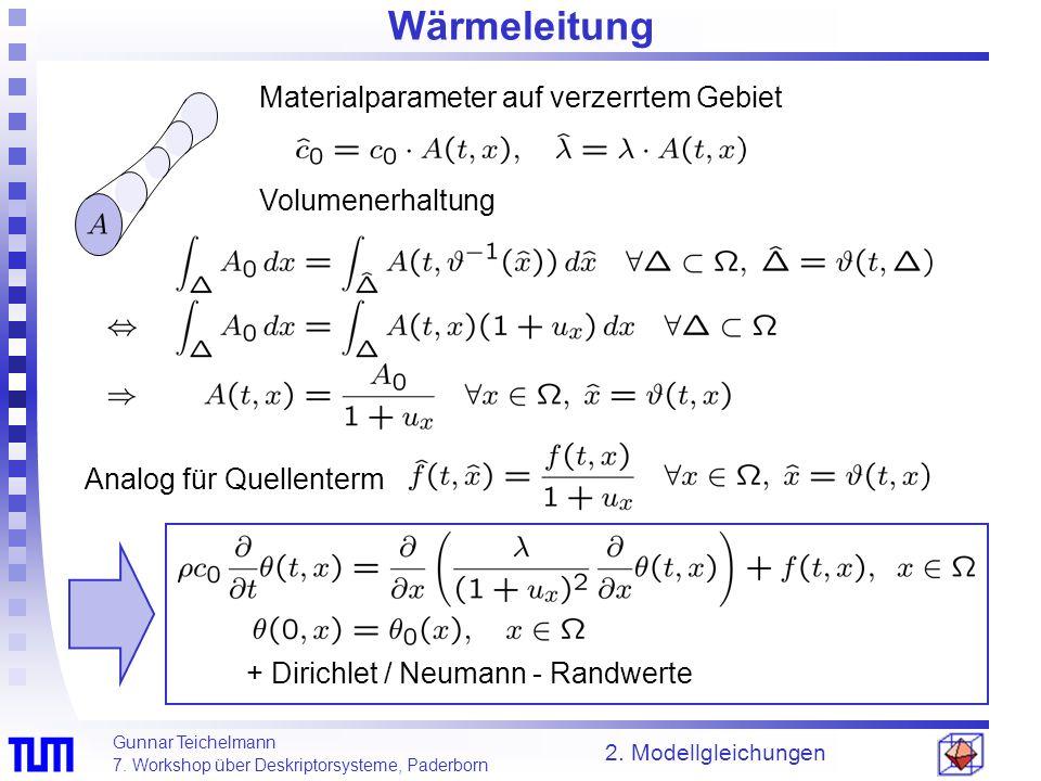 Gunnar Teichelmann 7. Workshop über Deskriptorsysteme, Paderborn 2. Modellgleichungen Wärmeleitung Analog für Quellenterm Volumenerhaltung Materialpar
