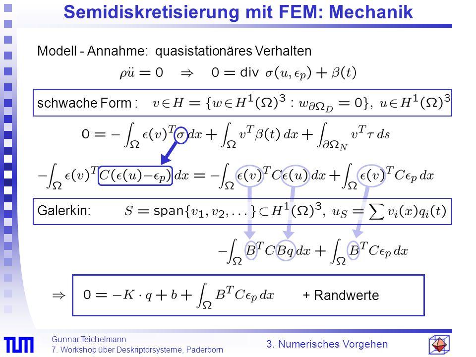 Gunnar Teichelmann 7. Workshop über Deskriptorsysteme, Paderborn 3. Numerisches Vorgehen Semidiskretisierung mit FEM: Mechanik Modell - Annahme: quasi