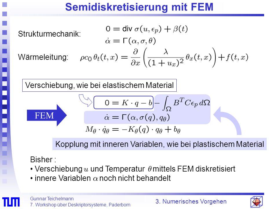 Gunnar Teichelmann 7. Workshop über Deskriptorsysteme, Paderborn Semidiskretisierung mit FEM 3. Numerisches Vorgehen Verschiebung, wie bei elastischem