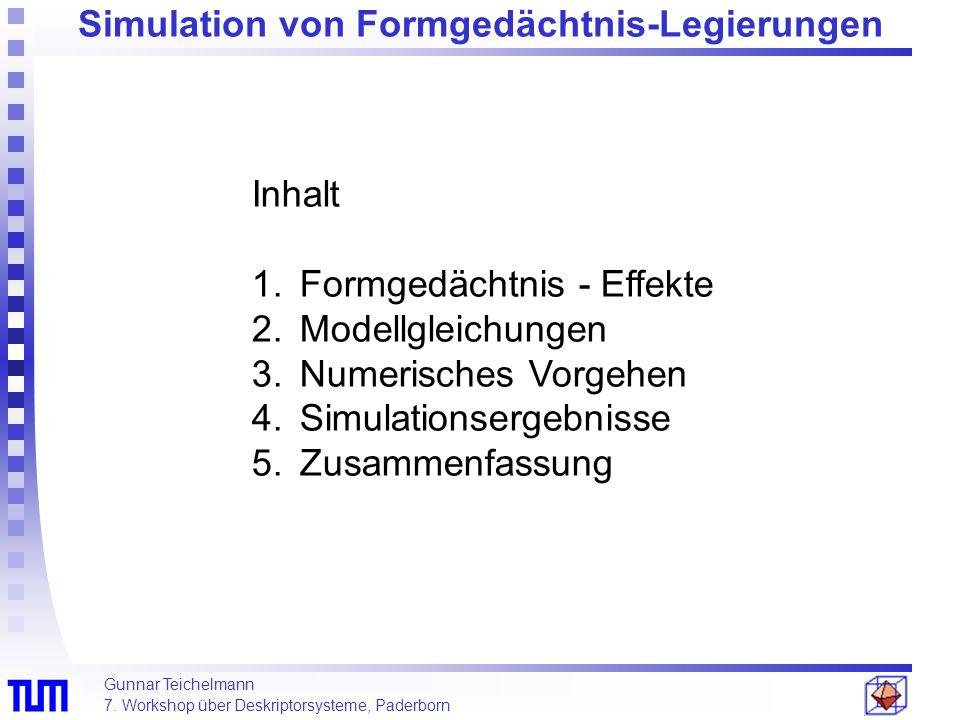 Gunnar Teichelmann 7. Workshop über Deskriptorsysteme, Paderborn Inhalt 1.Formgedächtnis - Effekte 2.Modellgleichungen 3.Numerisches Vorgehen 4.Simula