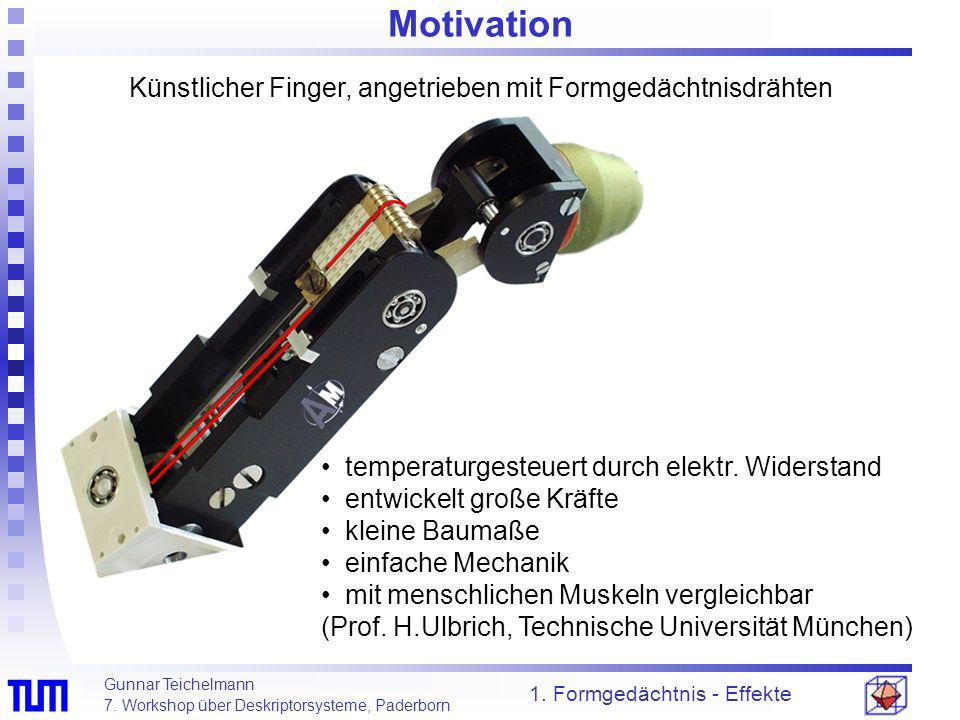 Gunnar Teichelmann 7. Workshop über Deskriptorsysteme, Paderborn Motivation 1. Formgedächtnis - Effekte temperaturgesteuert durch elektr. Widerstand e