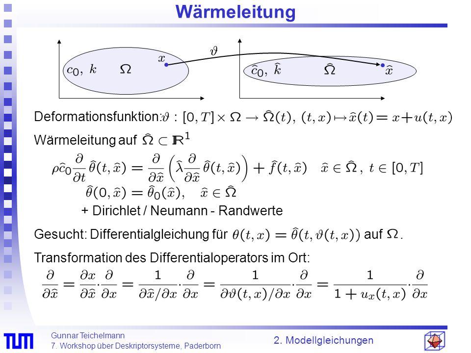 Gunnar Teichelmann 7. Workshop über Deskriptorsysteme, Paderborn 2. Modellgleichungen Wärmeleitung Deformationsfunktion: Wärmeleitung auf + Dirichlet
