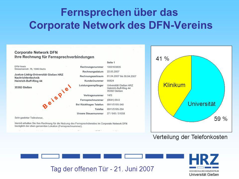 Tag der offenen Tür - 21. Juni 2007 Klinikum Universität 59 % 41 % B e i s p i e l Verteilung der Telefonkosten Fernsprechen über das Corporate Networ