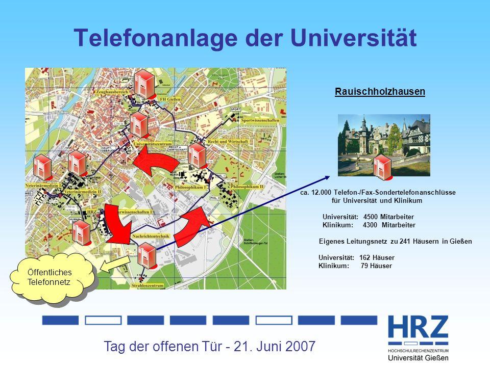 Tag der offenen Tür - 21. Juni 2007 Telefonanlage der Universität Rauischholzhausen ca. 12.000 Telefon-/Fax-Sondertelefonanschlüsse für Universität un