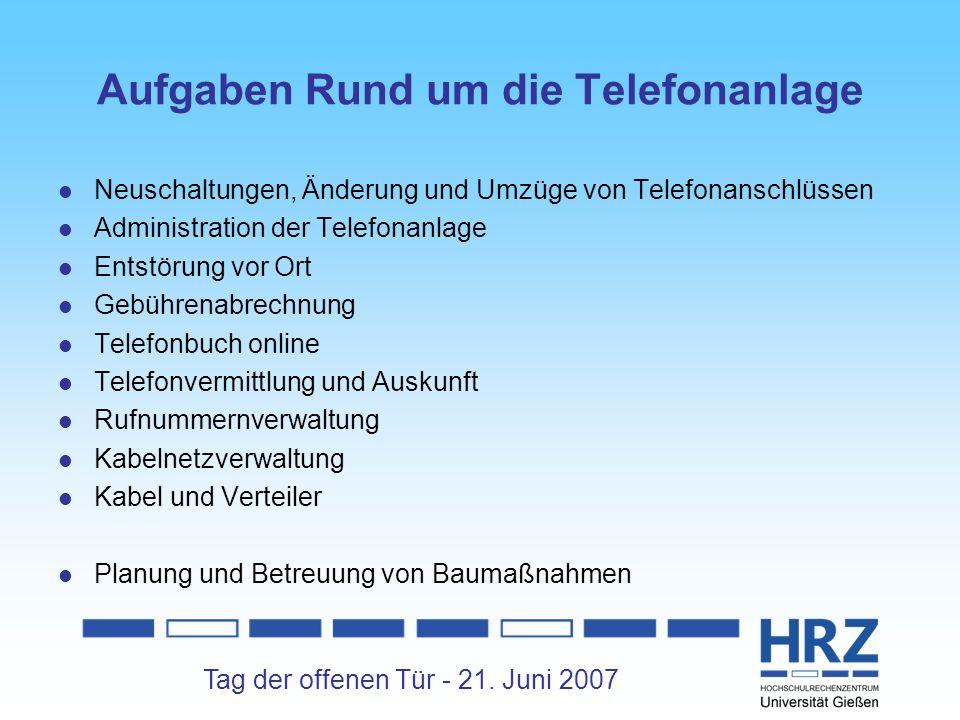 Tag der offenen Tür - 21. Juni 2007 Aufgaben Rund um die Telefonanlage Neuschaltungen, Änderung und Umzüge von Telefonanschlüssen Administration der T