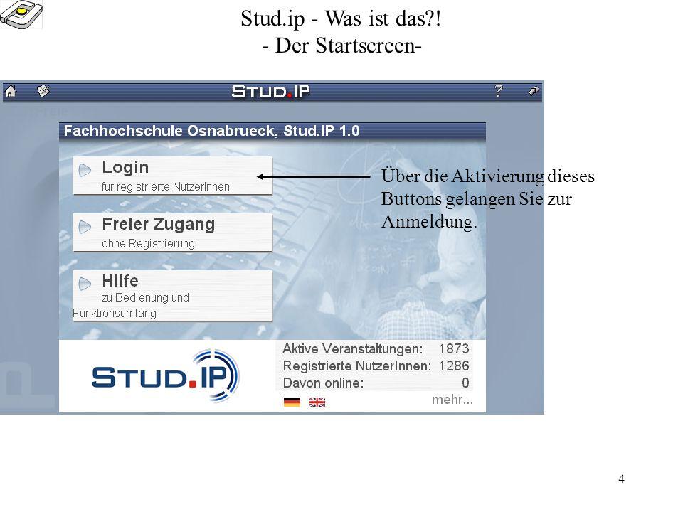 3 Stud.ip - Was ist das?! Was ist stud.ip? Stud.ip ist eine eLearning-Plattform, die zur elektronischen Kommunikation zwischen Dozenten und Studierend
