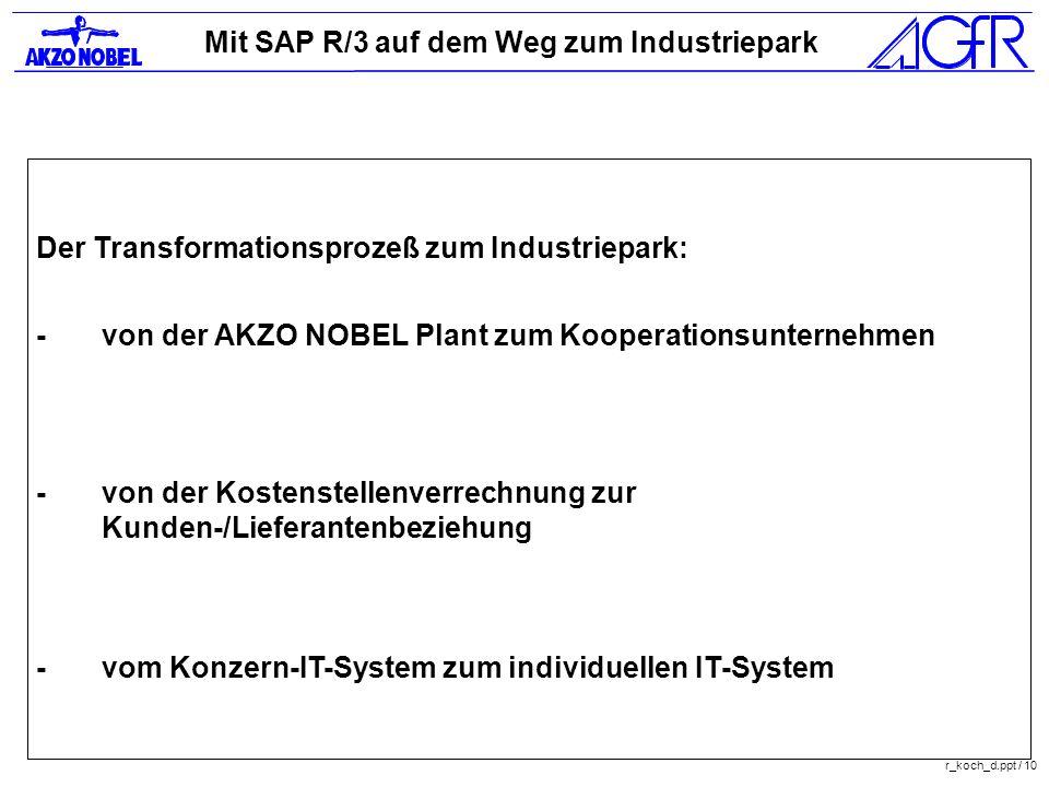 Mit SAP R/3 auf dem Weg zum Industriepark r_koch_d.ppt / 10 Der Transformationsprozeß zum Industriepark: -von der AKZO NOBEL Plant zum Kooperationsunt