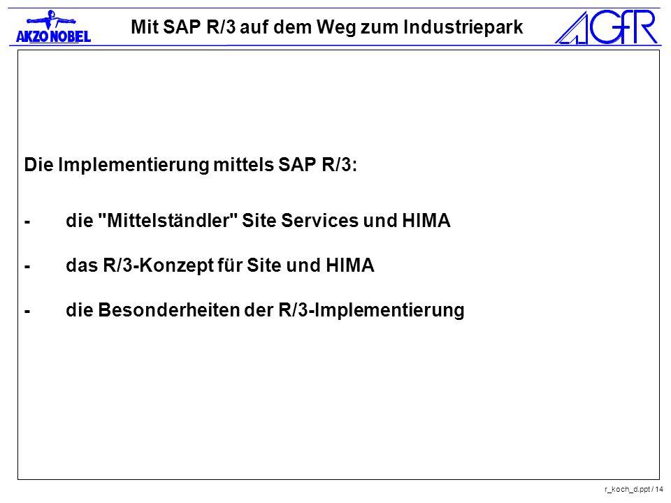 Mit SAP R/3 auf dem Weg zum Industriepark r_koch_d.ppt / 14 Die Implementierung mittels SAP R/3: -die